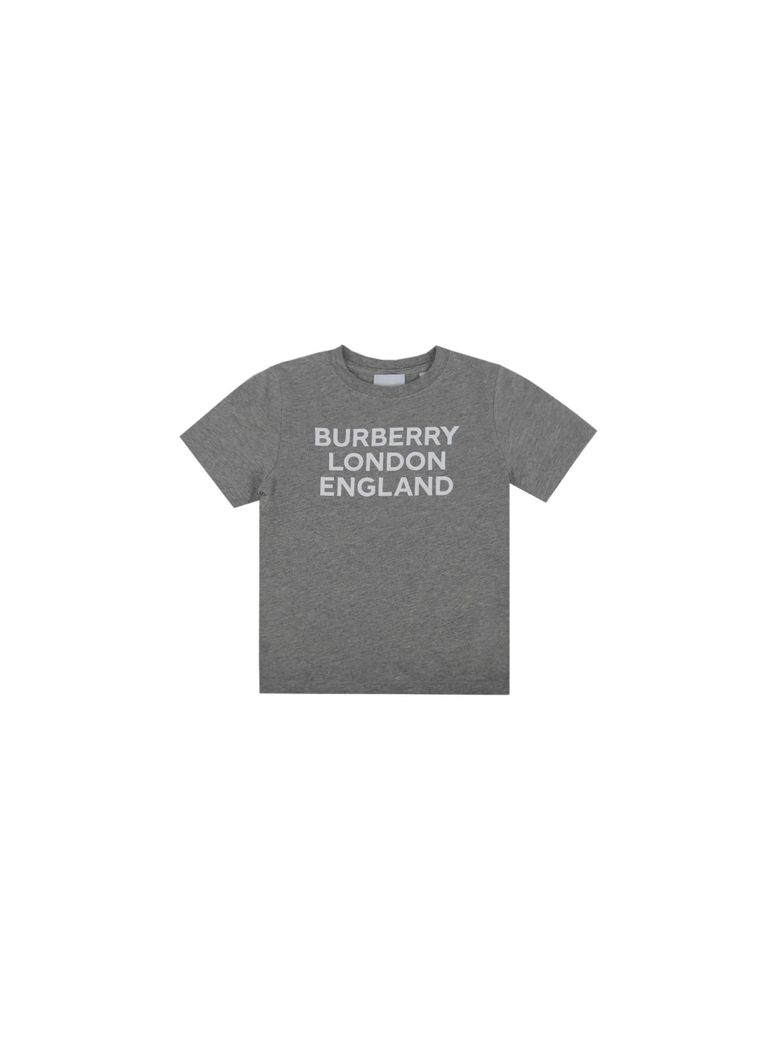 Burberry Kids' T-shirt For Girl In Grey Melange