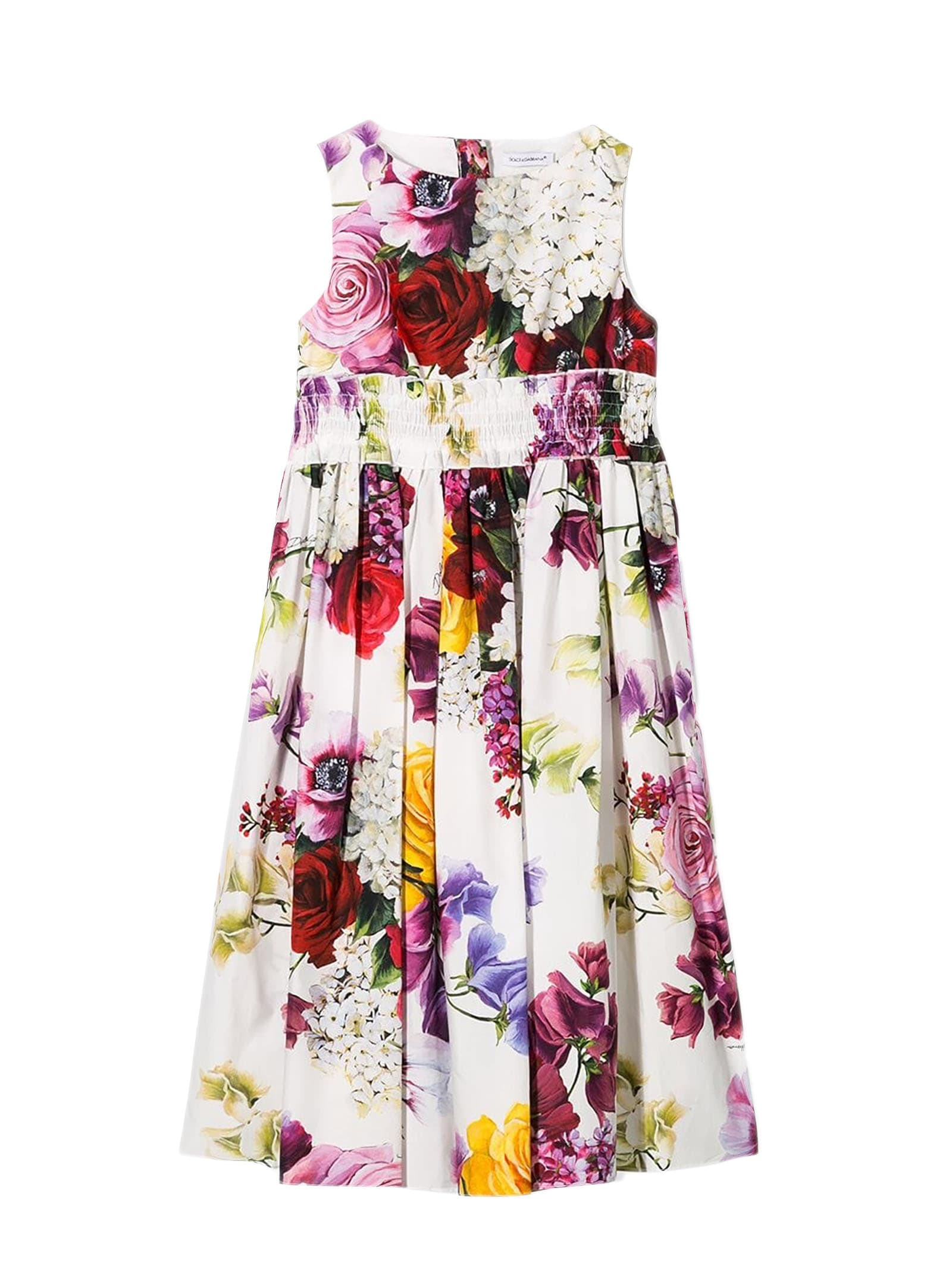 Buy Dolce & Gabbana White Cotton Floral Print Dress online, shop Dolce & Gabbana with free shipping