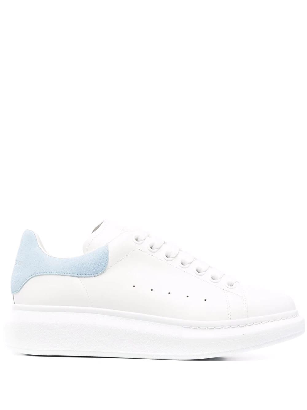 Alexander McQueen Woman White And Light Blue Oversize Sneakers