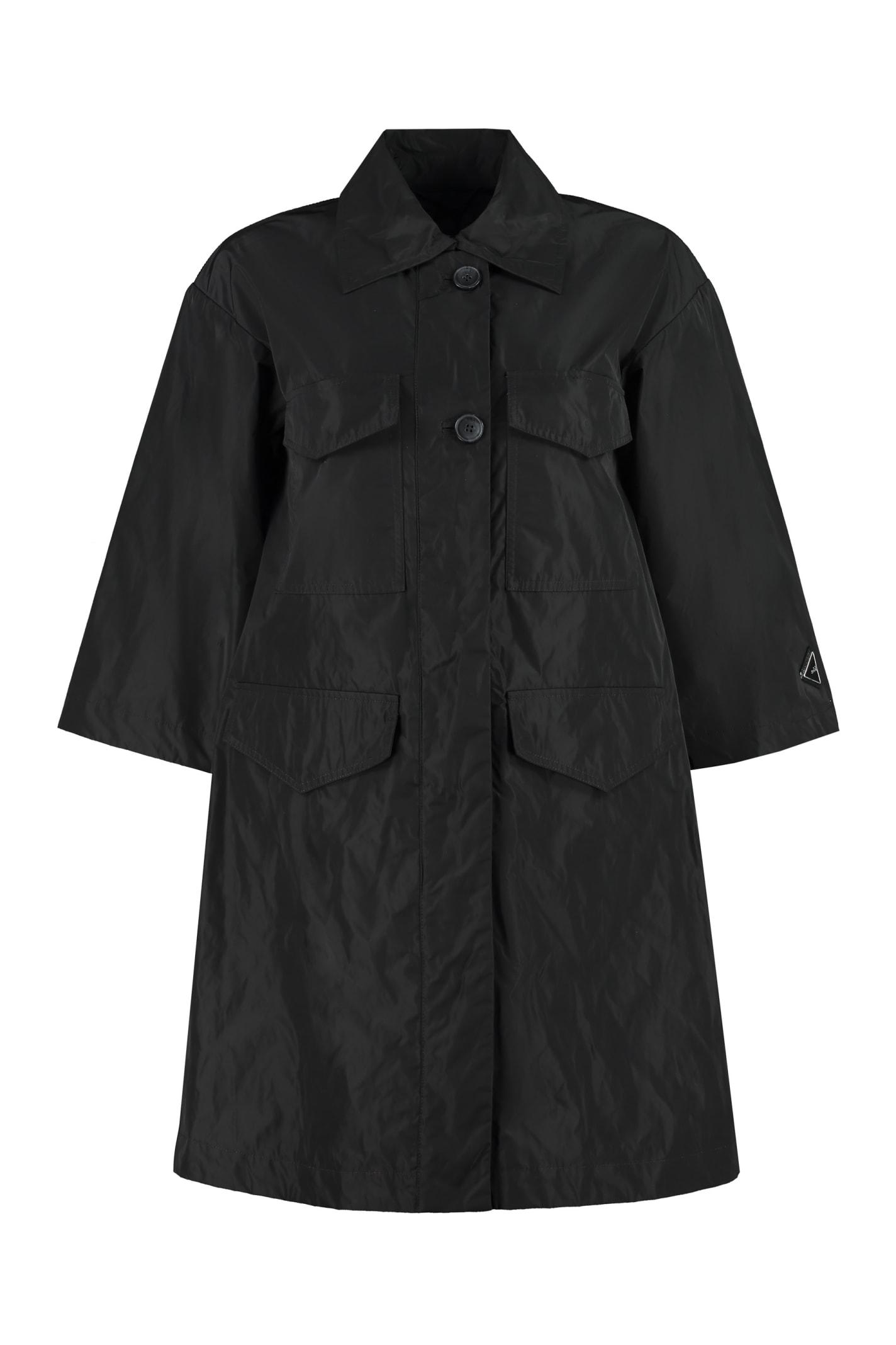Add Techno Fabric Raincoat In Black