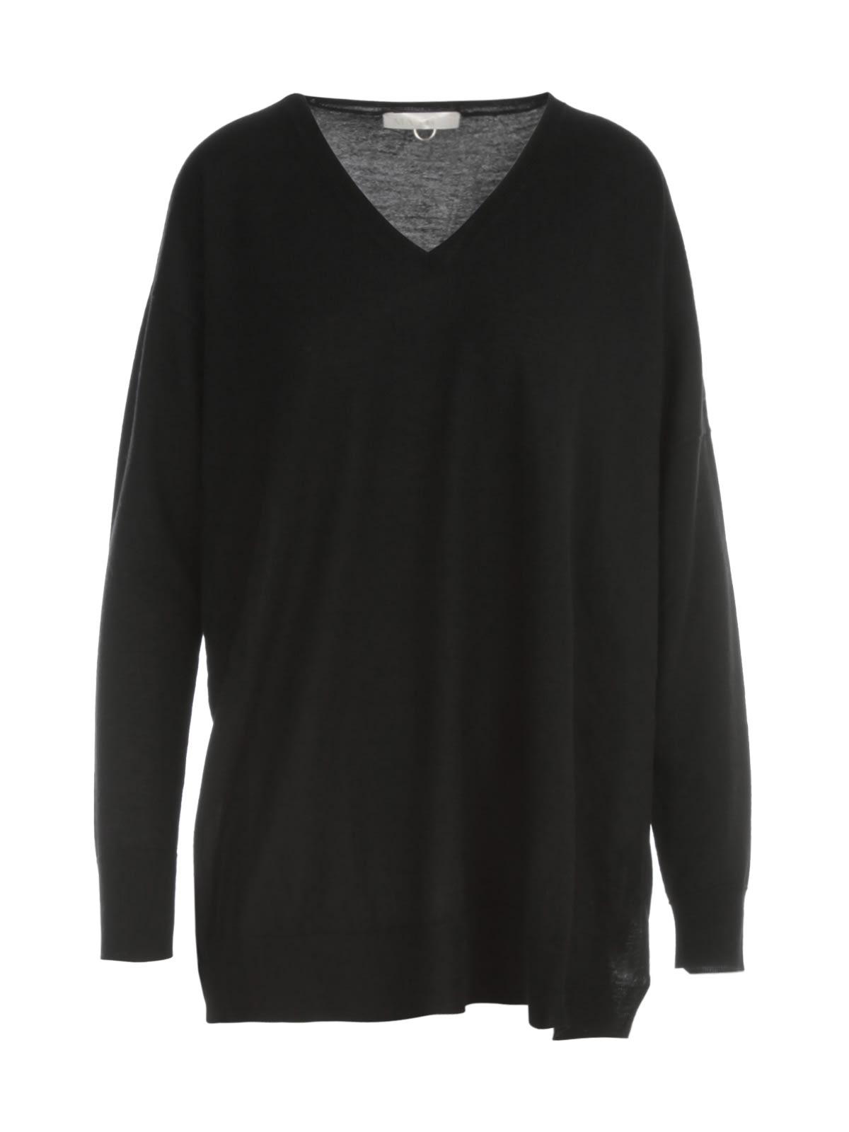 Asymmetrical V Neck L/s Sweater