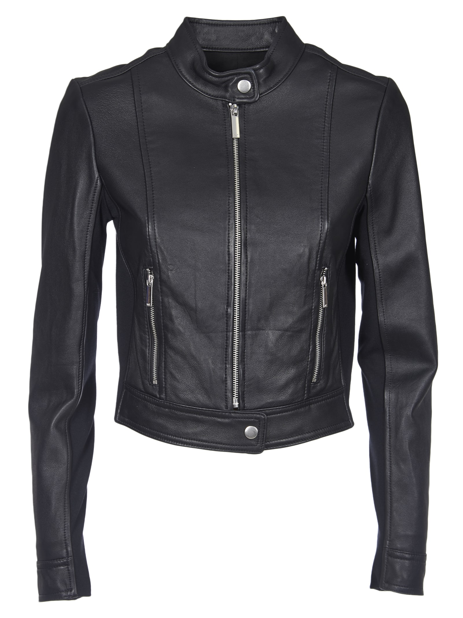 Michael Kors Black Leather Jacket And Fabric Inserts