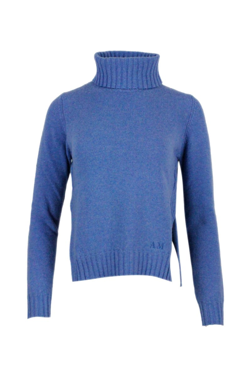 Turtleneck Sweater In Wool Blend With Side Slits And With Different Lengths