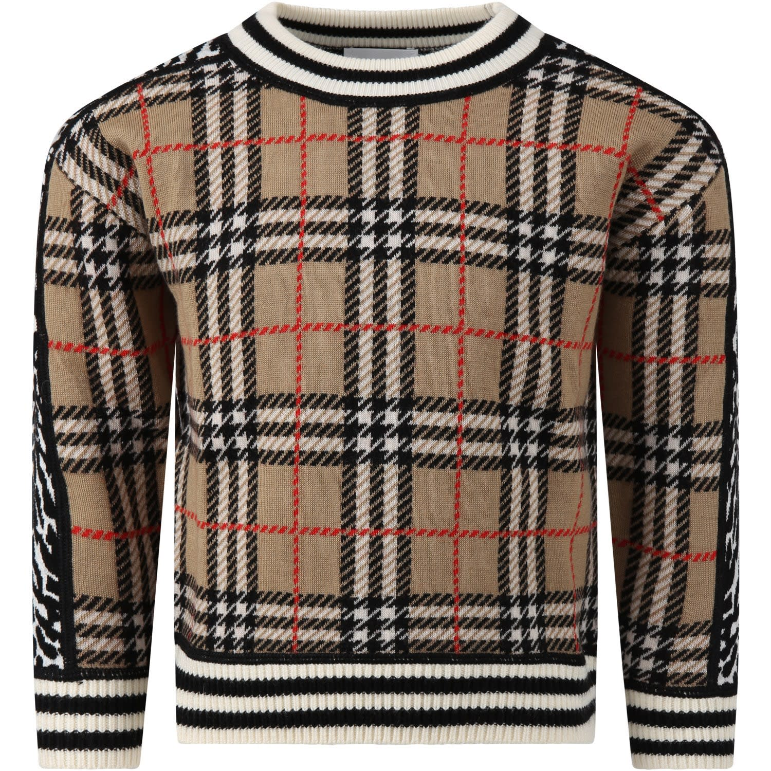 Burberry Beige Sweater For Kids With Animalier Prints