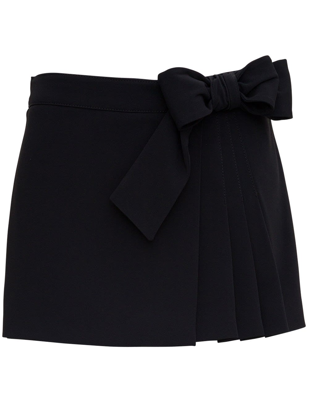 Red Valentino Divided Mid Skirt With Bow Detail In Black