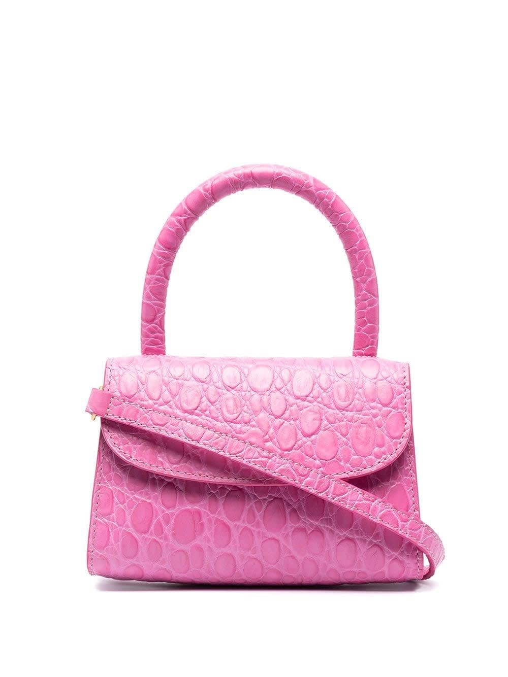 By Far CIRCULAR MINI HANDBAG IN CROCODILE PRINT LEATHER