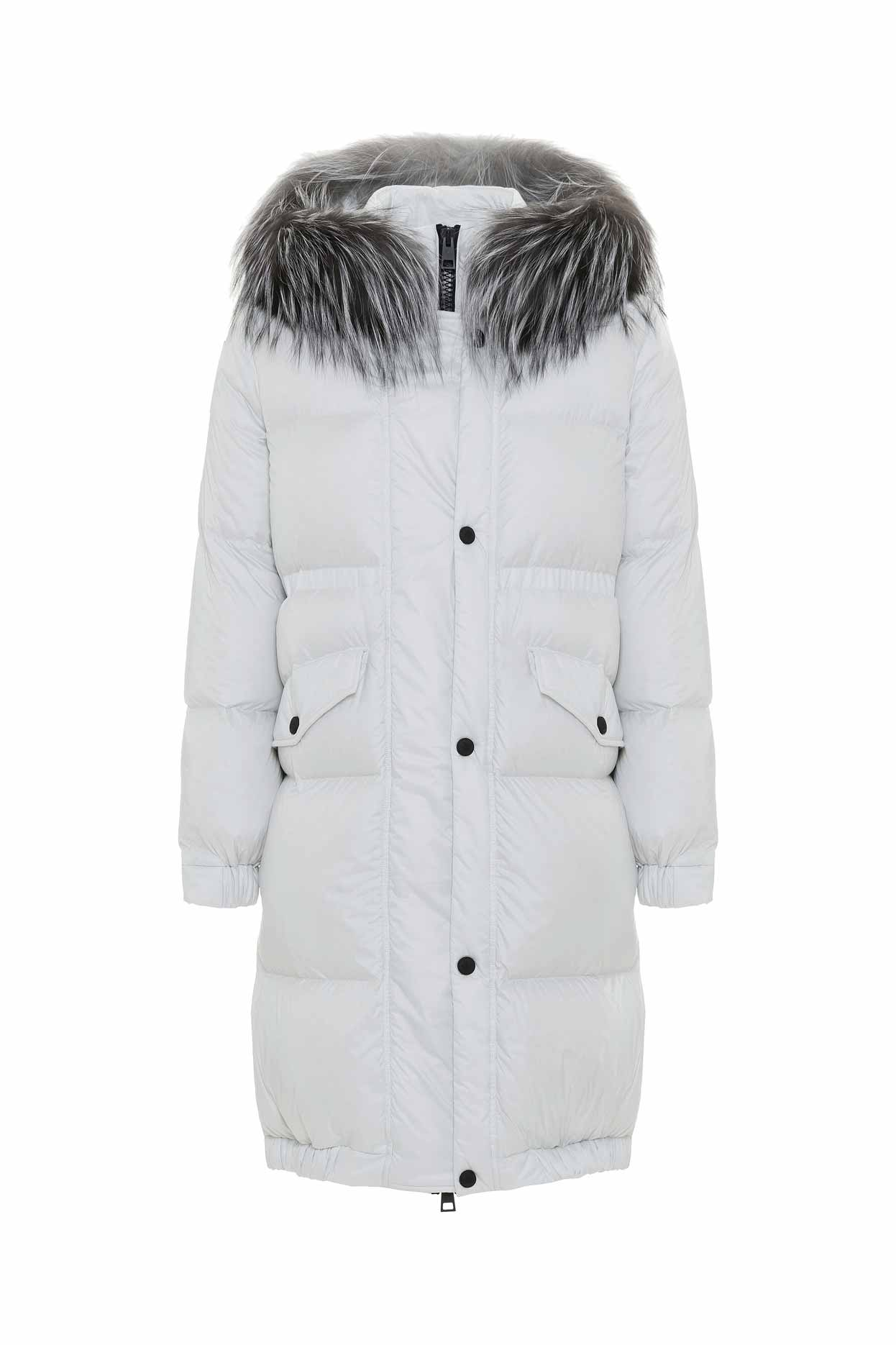 Mr & Mrs Italy Long Down Jacket For Woman With Fox Fur In Sail White / Sail White / Silver