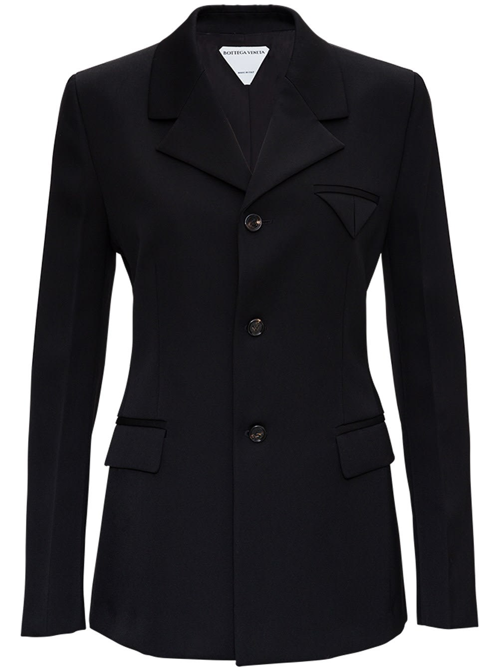 Bottega Veneta BLACK SINGLE BREASTED WOOL BLAZER