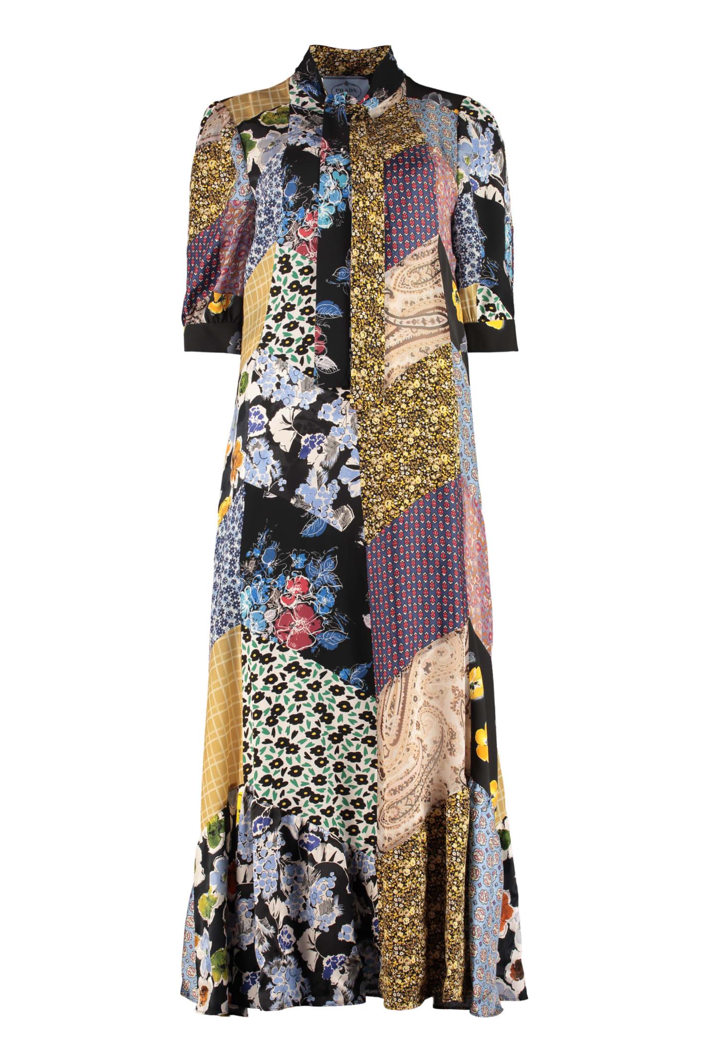 Buy Prada Floral Patchwork Dress online, shop Prada with free shipping