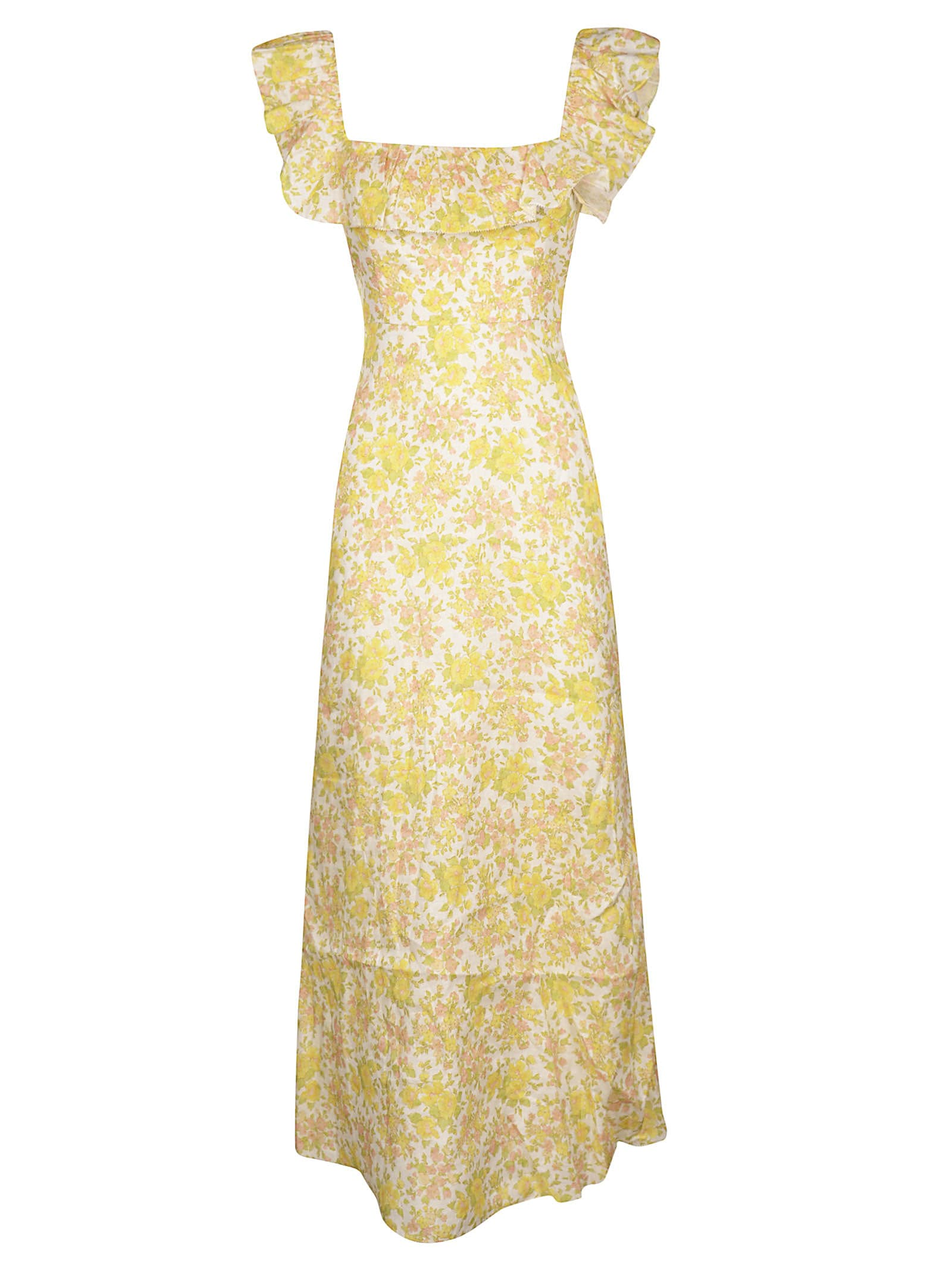 Zimmermann Goldie Ruffle Neck Long Dress
