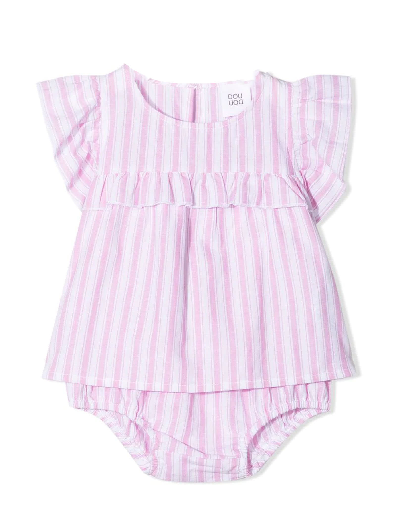 Stripe-print Ruffled Babygrow Set