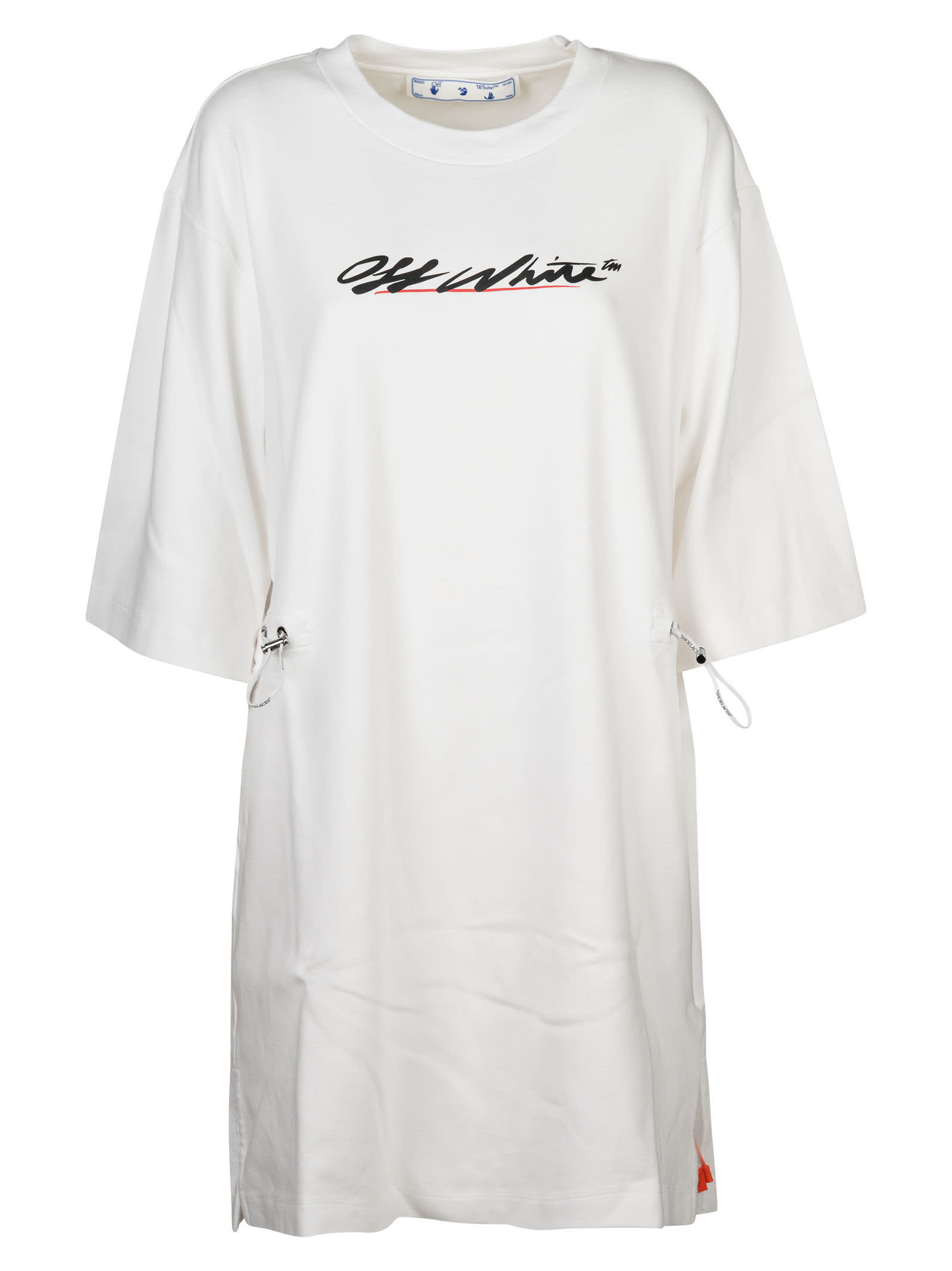 Off-White Cottons NEW SCRIPT LOGO COULISSE DRESS