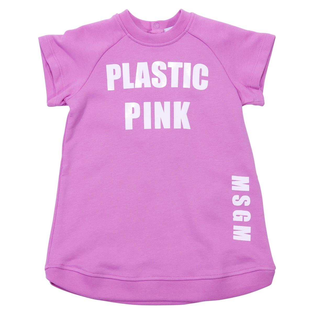 MSGM Pink Cotton Sweatshirt Dress