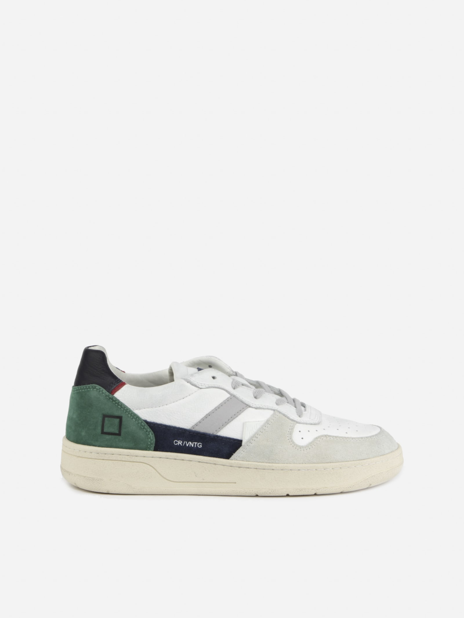 D.a.t.e. VINTAGE EFFECT COURT SNEAKERS WITH SUEDE INSERTS