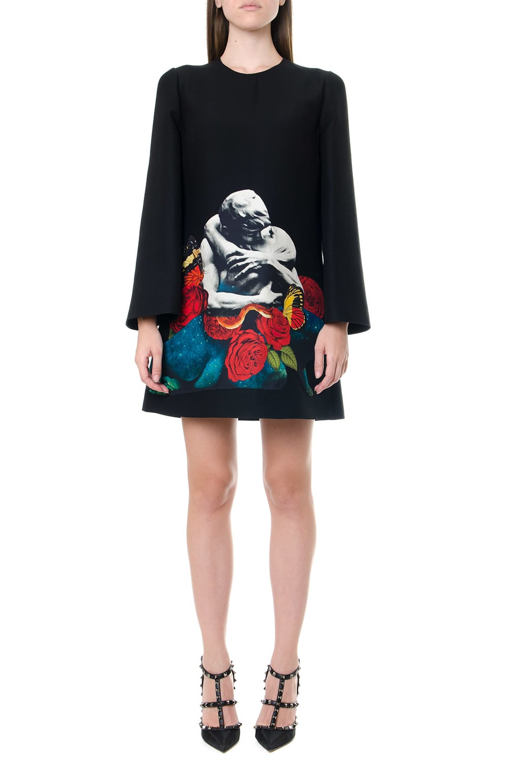 Photo of  Valentino Printed Patch Black Crepe Couture Dress- shop Valentino  online sales