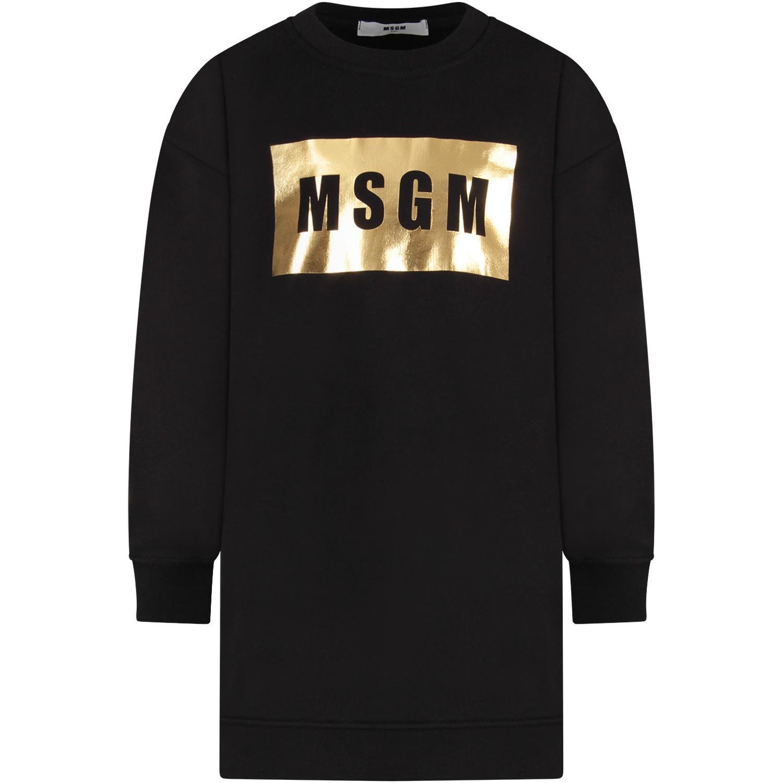 MSGM Black Girl Dress With Logo
