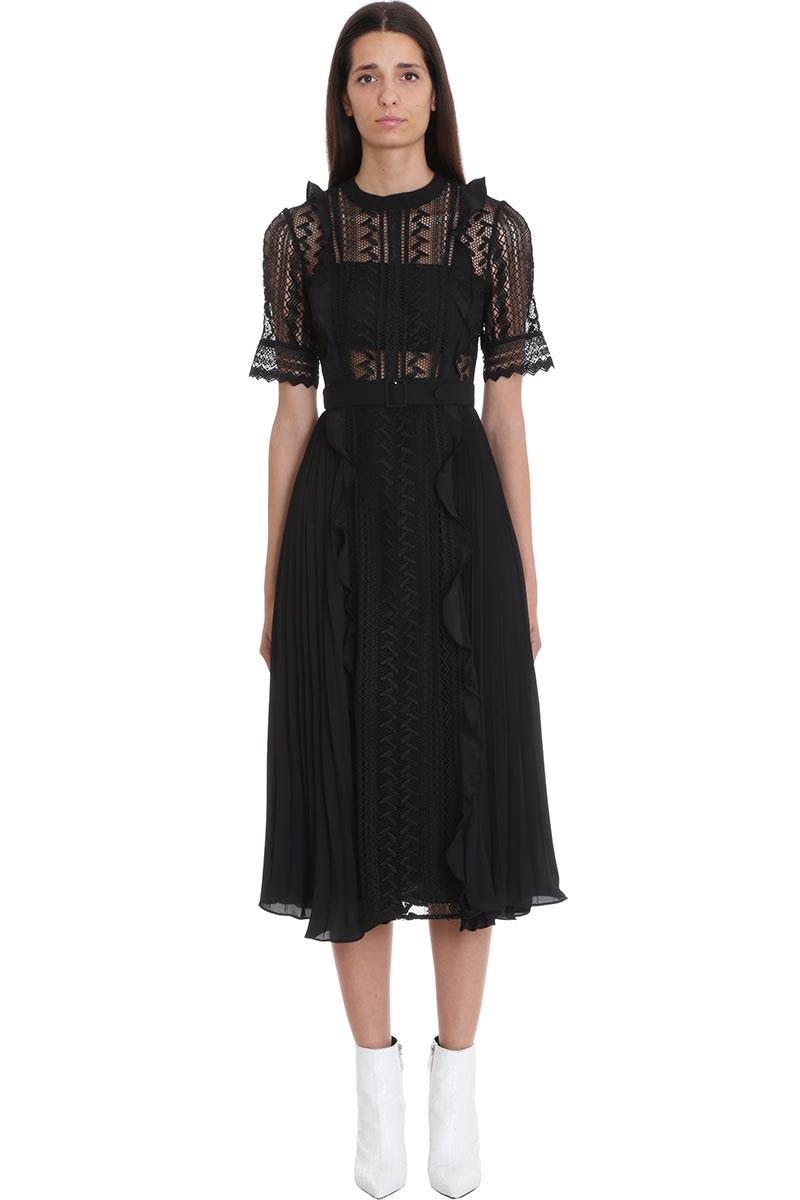self-portrait Dress In Black Polyester