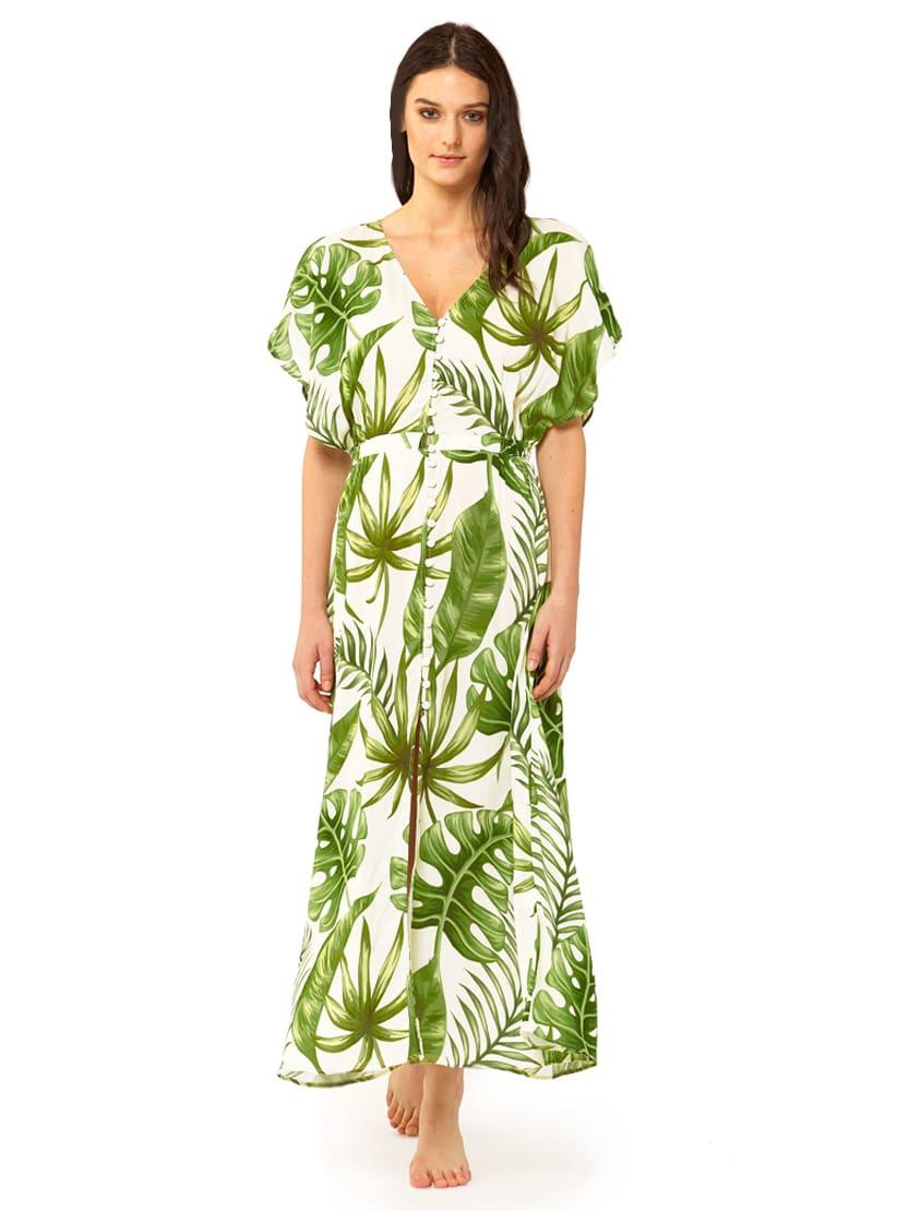 Buy MC2 Saint Barth Tropical Leaves Print Long Dress #losangeles online, shop MC2 Saint Barth with free shipping
