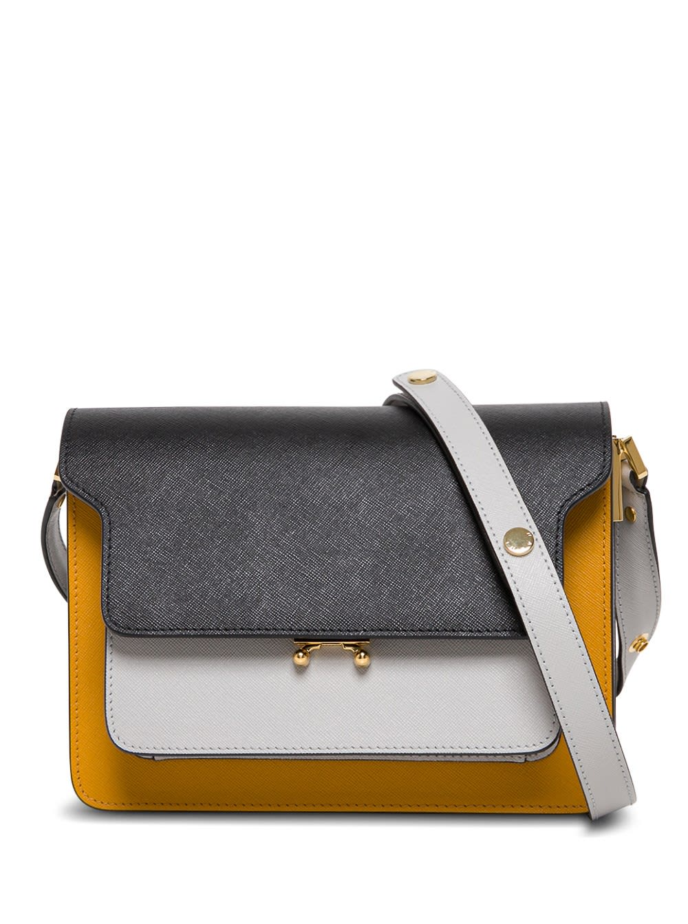 Marni Leathers TRUNK CROSSBODY BAG IN MULTICOLOR LEATHER
