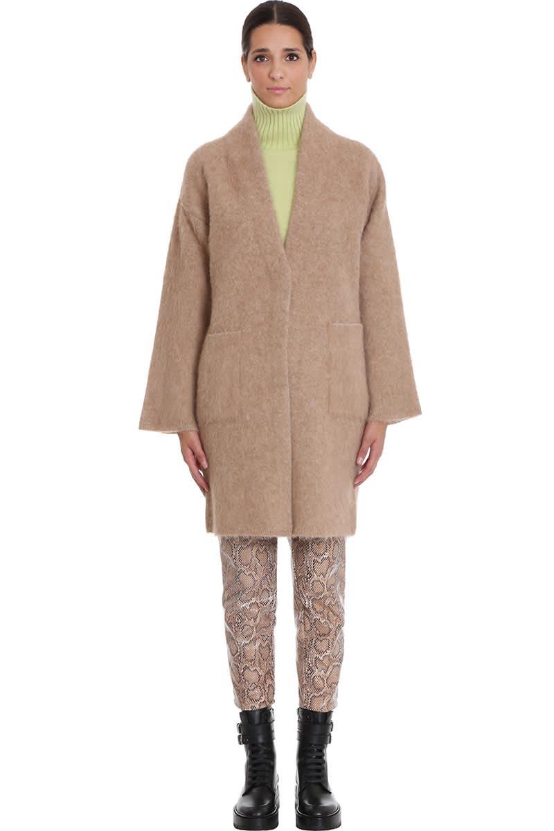Laneus Coat In Beige Wool