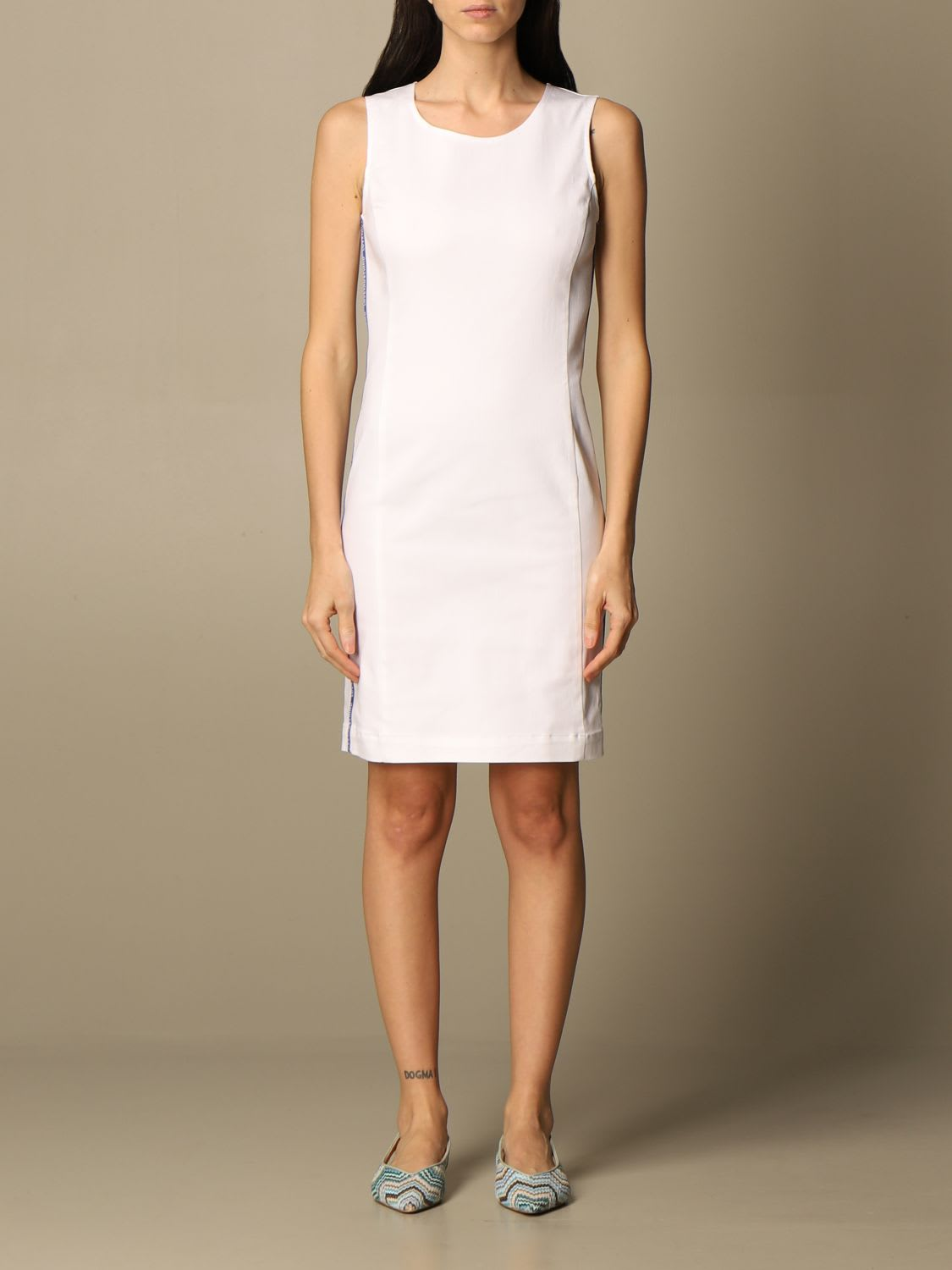 Love Moschino Dress Love Moschino Sheath Dress In Stretch Cotton With Bands