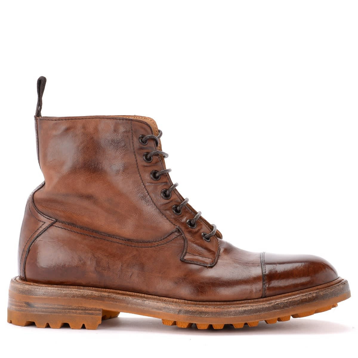 Ankle Boot In Cognac Washed Leather