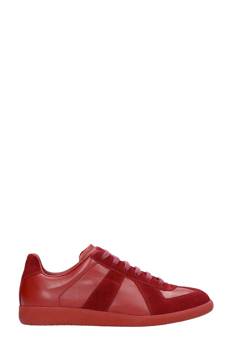 Maison Margiela Replica Sneakers In Bordeaux Suede And Leather