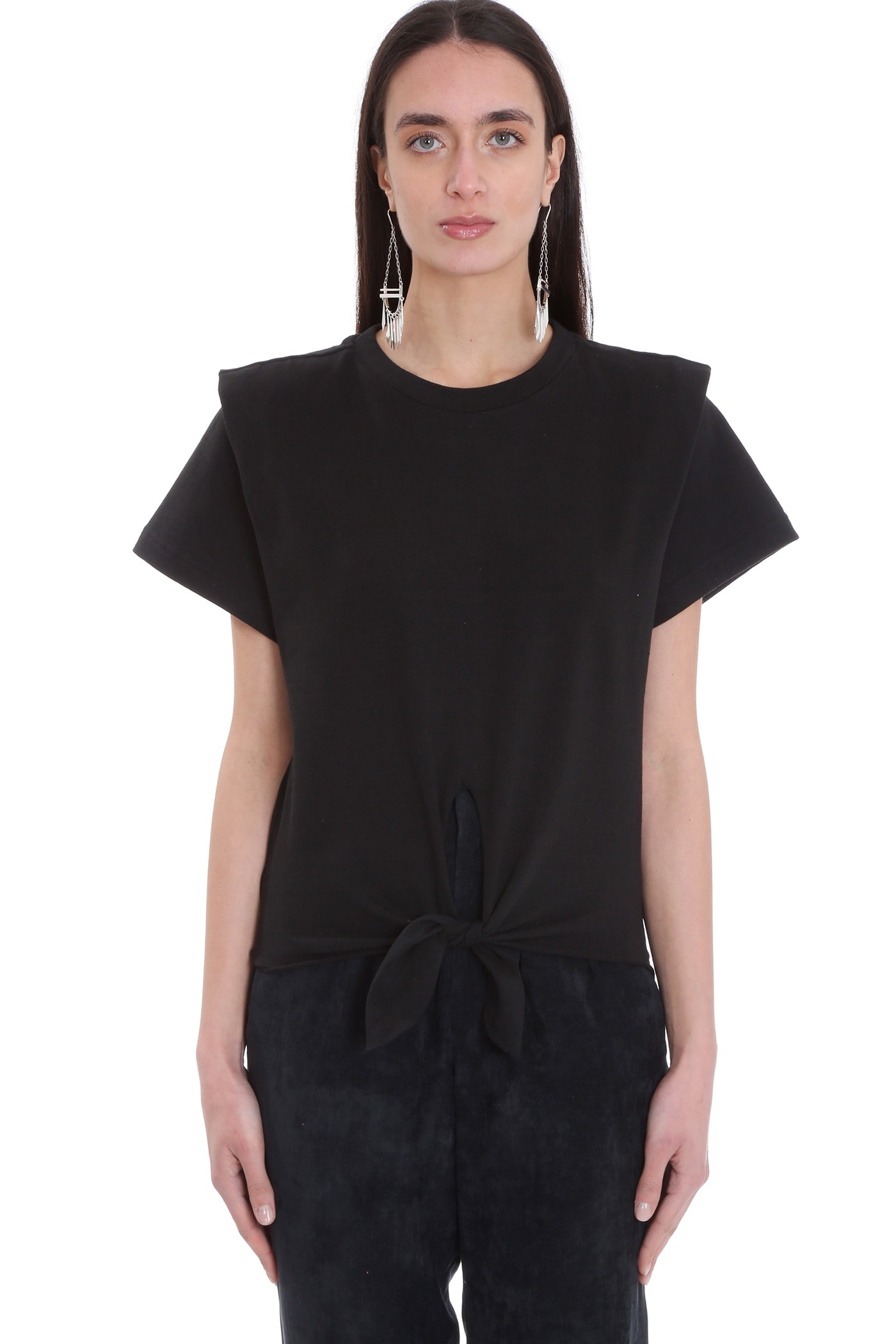 Isabel Marant Cottons ZELITO T-SHIRT IN BLACK COTTON