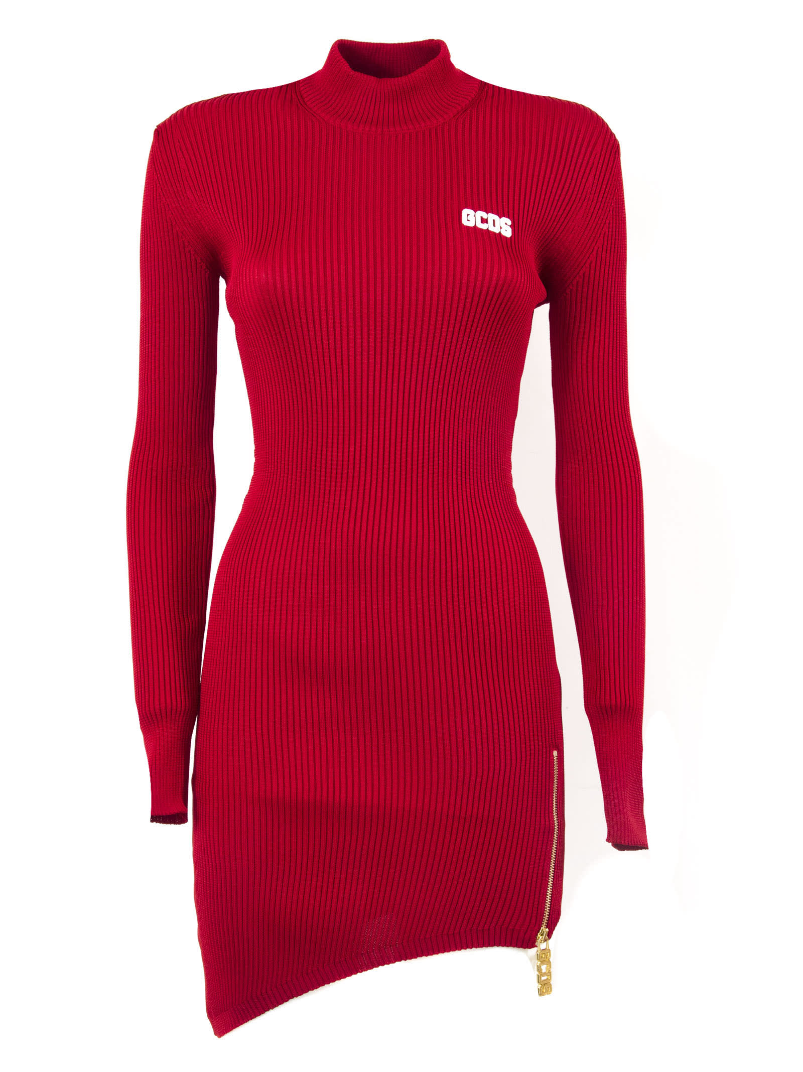 GCDS Red Ribbed Sweater Dress