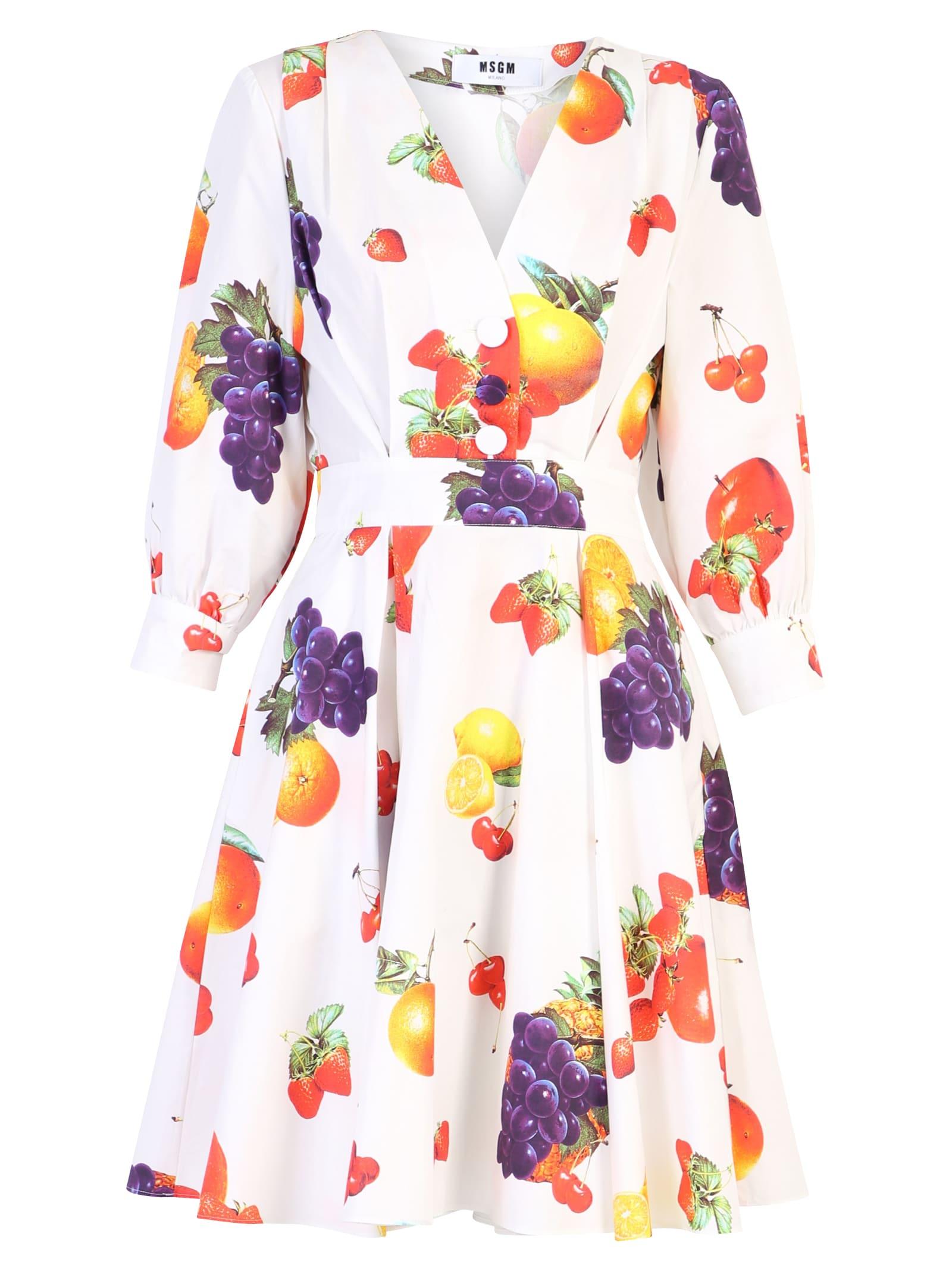 MSGM Printed Cotton Poplin Dress
