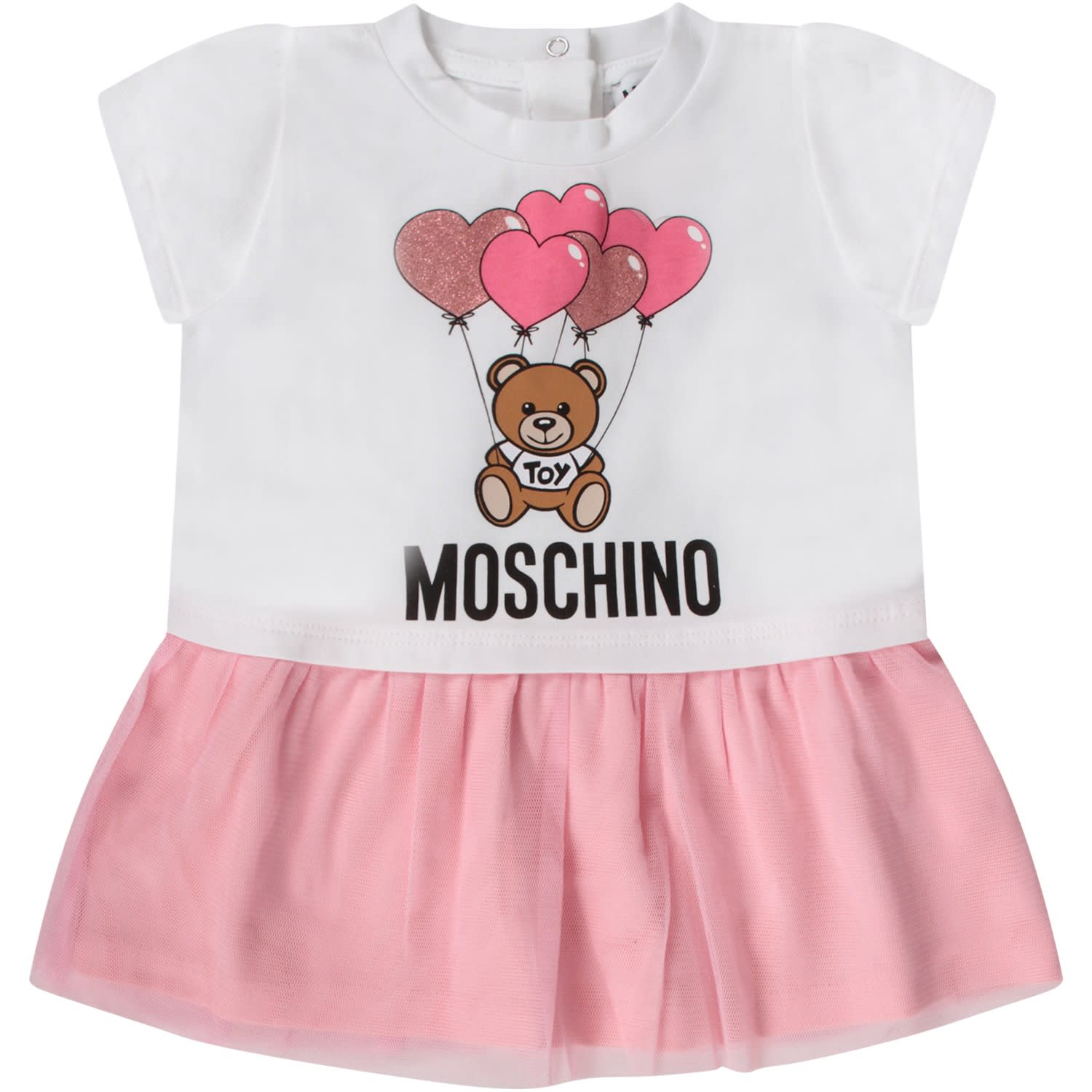 Buy Moschino White Babygirl Dress With Teddy Bear And Balloons online, shop Moschino with free shipping