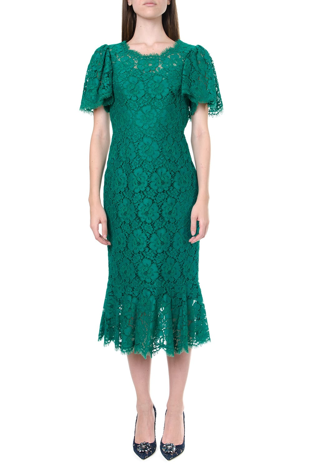Buy Dolce & Gabbana Green Lace Midi Dress online, shop Dolce & Gabbana with free shipping