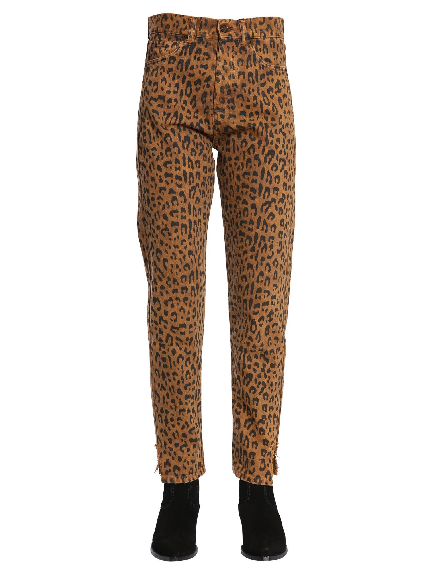 Saint Laurent Slim Fit Hjeans In Leopard Print