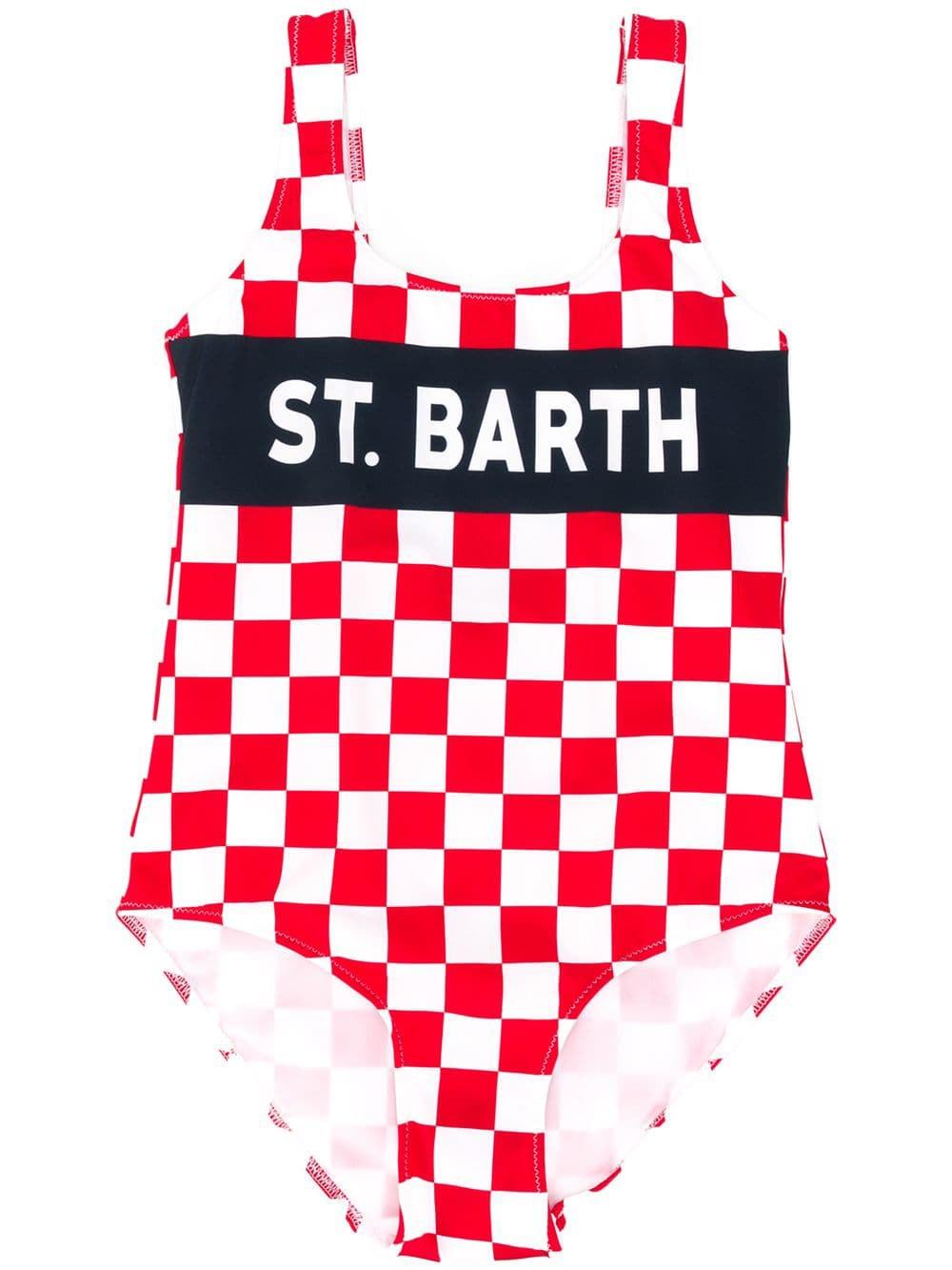 MC2 Saint Barth White And Red Check Print Girls One Piece