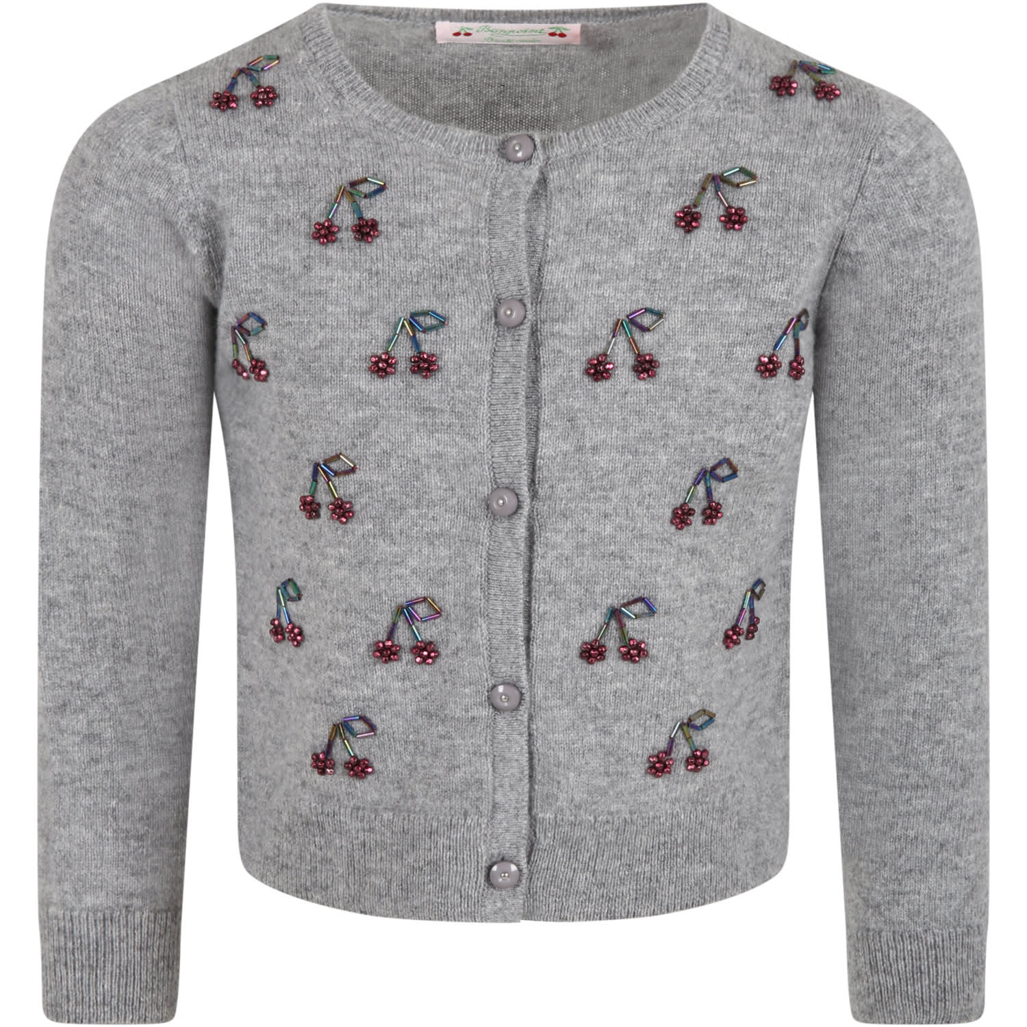 Gray Cardigan For Girl With Cherries
