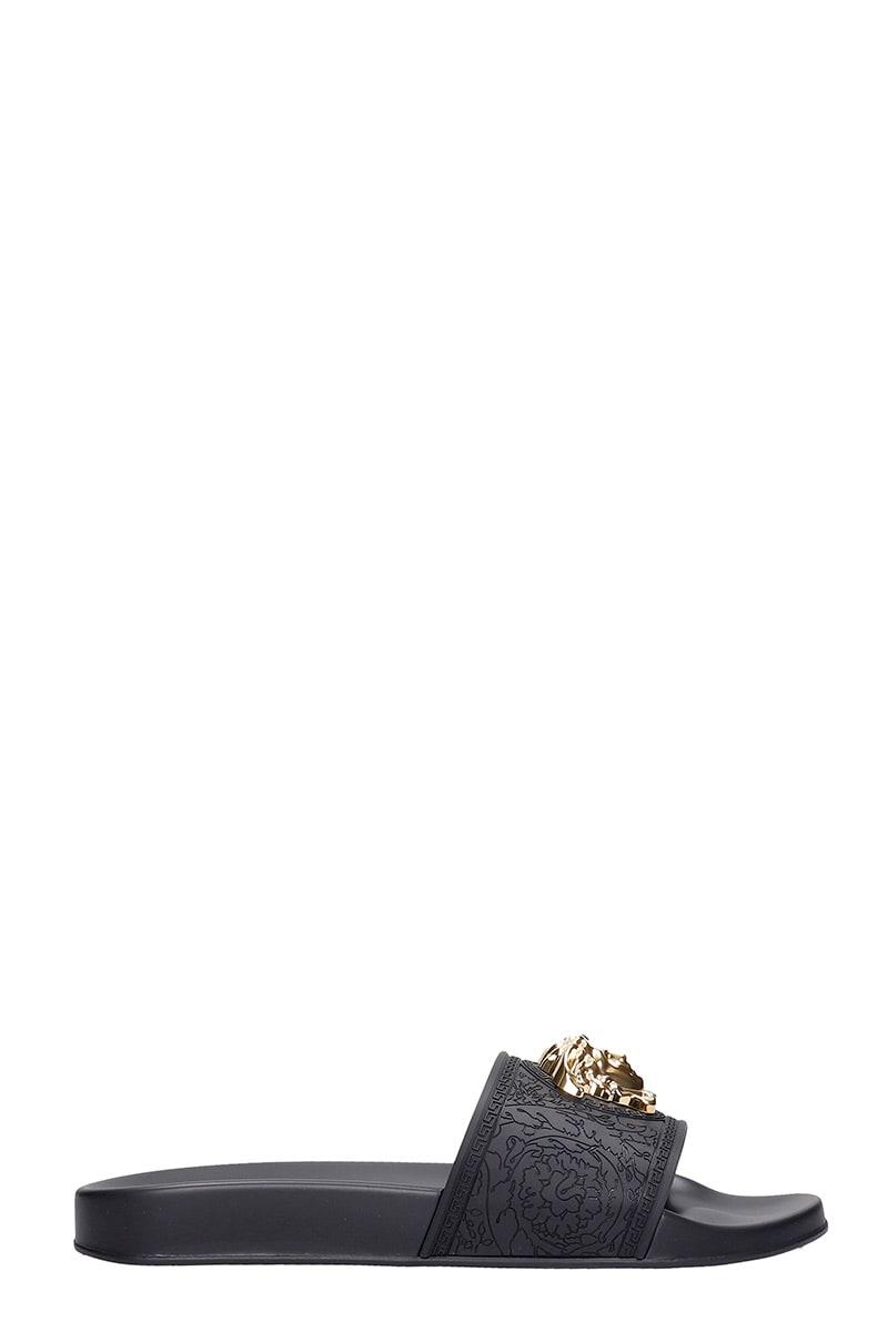 Versace Flats In Black Rubber/plasic