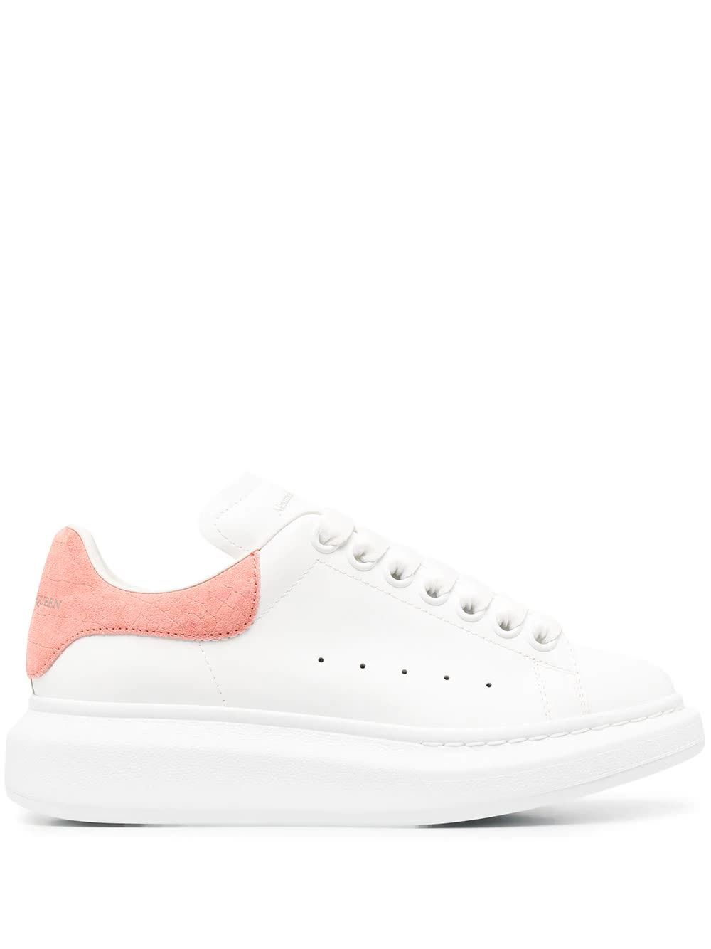 Buy Alexander McQueen Woman White Oversize Sneakers With Pink Crocodile Effect Spoiler online, shop Alexander McQueen shoes with free shipping
