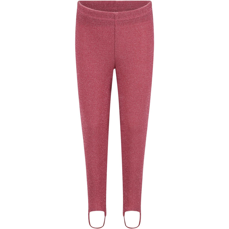 Fuchsia Leggings For Girl With Lurex Details