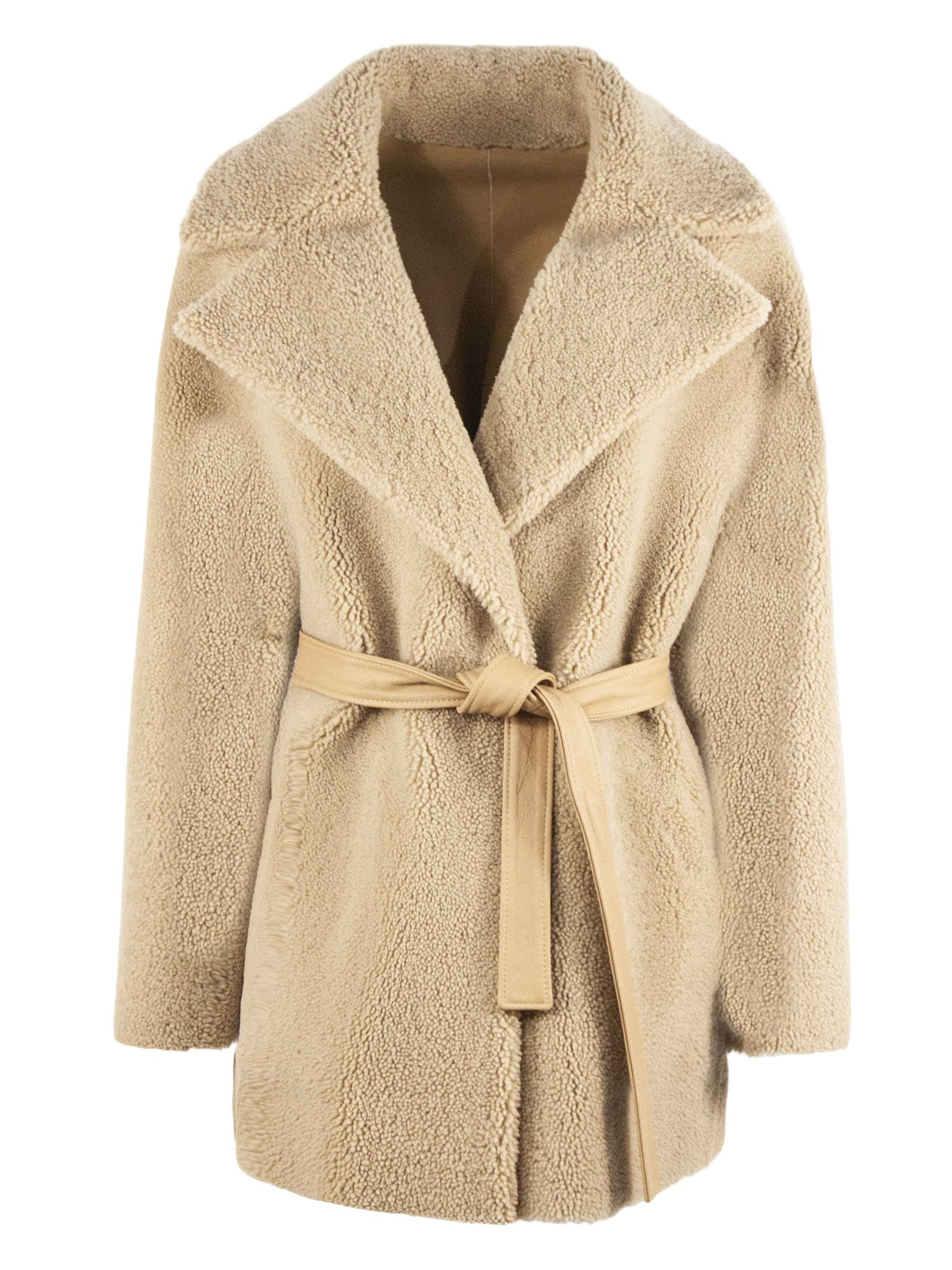 Sand Shearling/sheepskin Coat