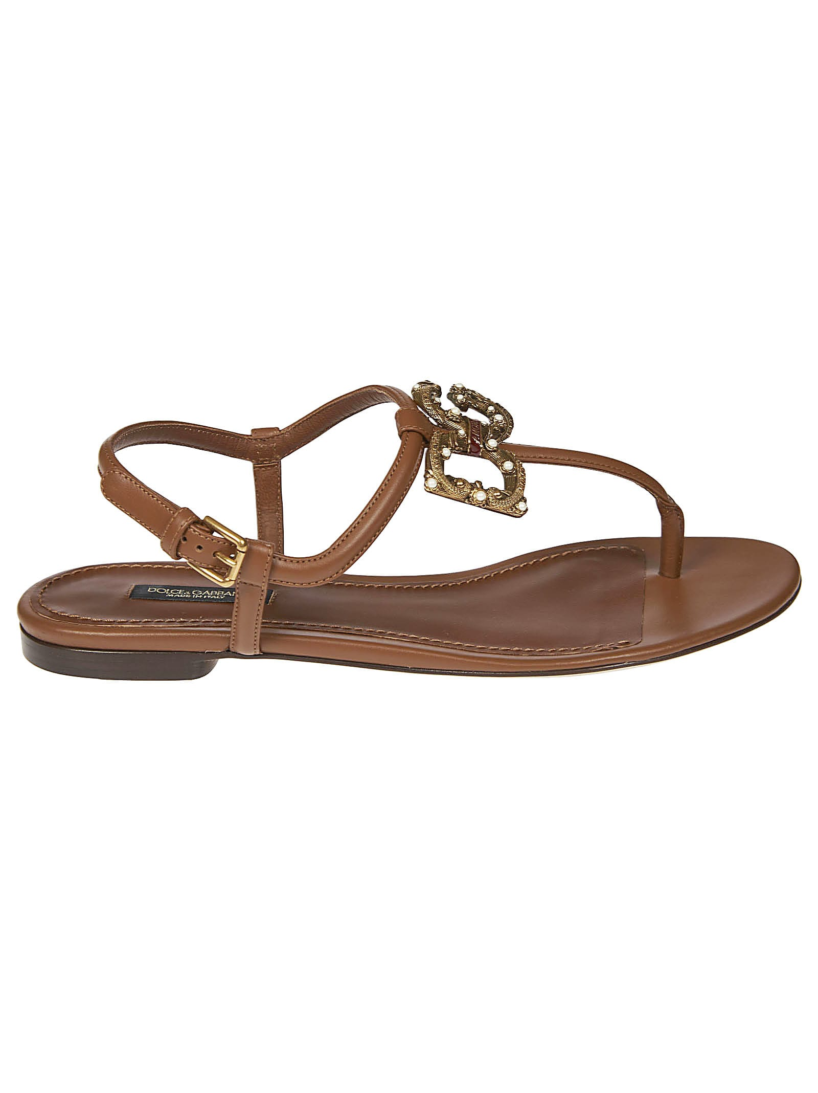 Buy Dolce & Gabbana Logo Embellished Sandals online, shop Dolce & Gabbana shoes with free shipping