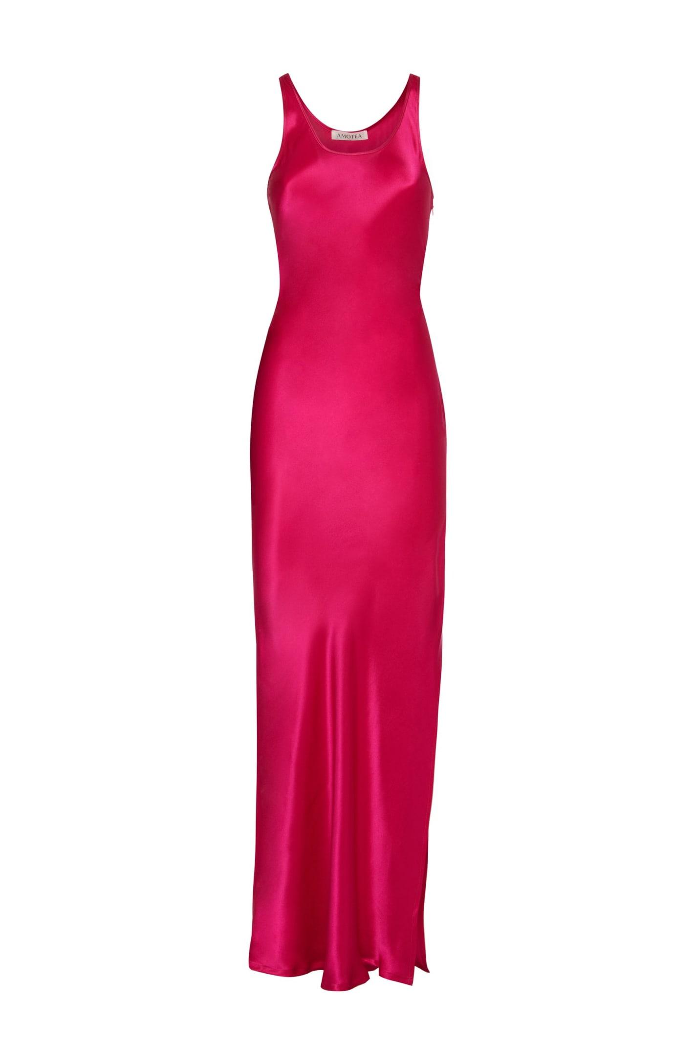 Mila Dress In Fucsia Satin