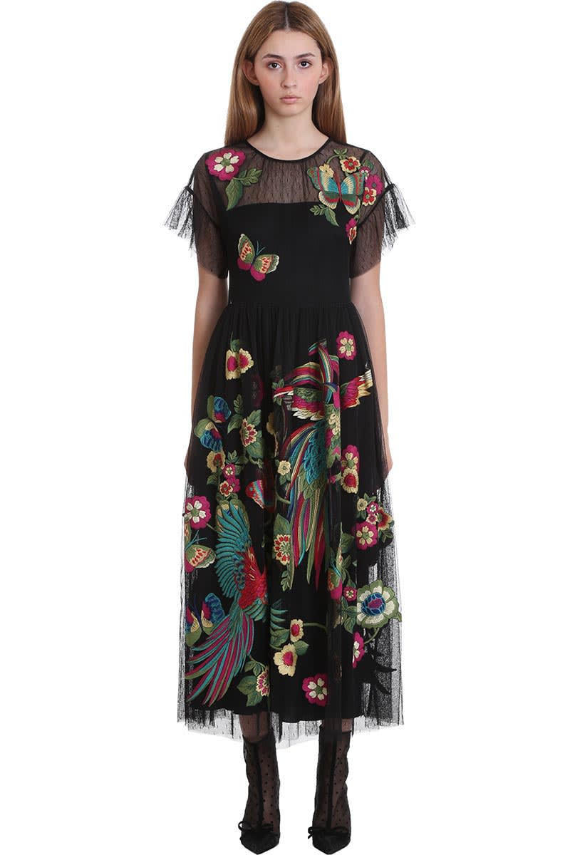 Buy RED Valentino Dress In Black Silk online, shop RED Valentino with free shipping