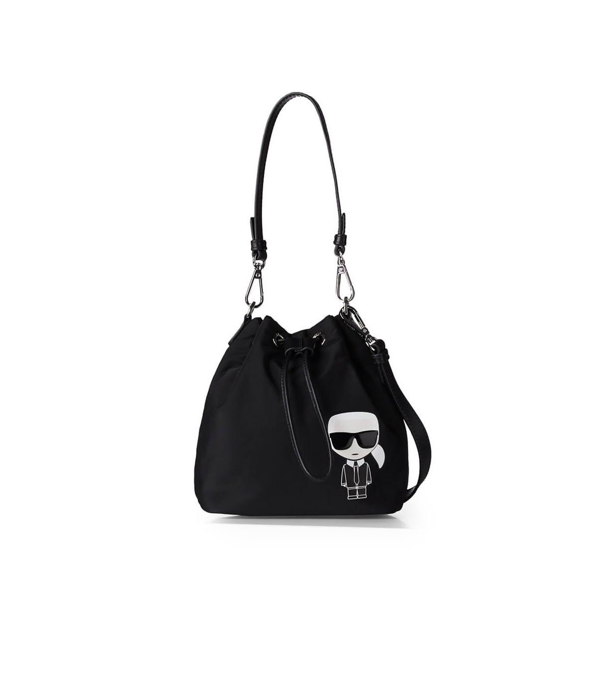 KARL LAGERFELD K/IKONIK BLACK NYLON BUCKET BAG