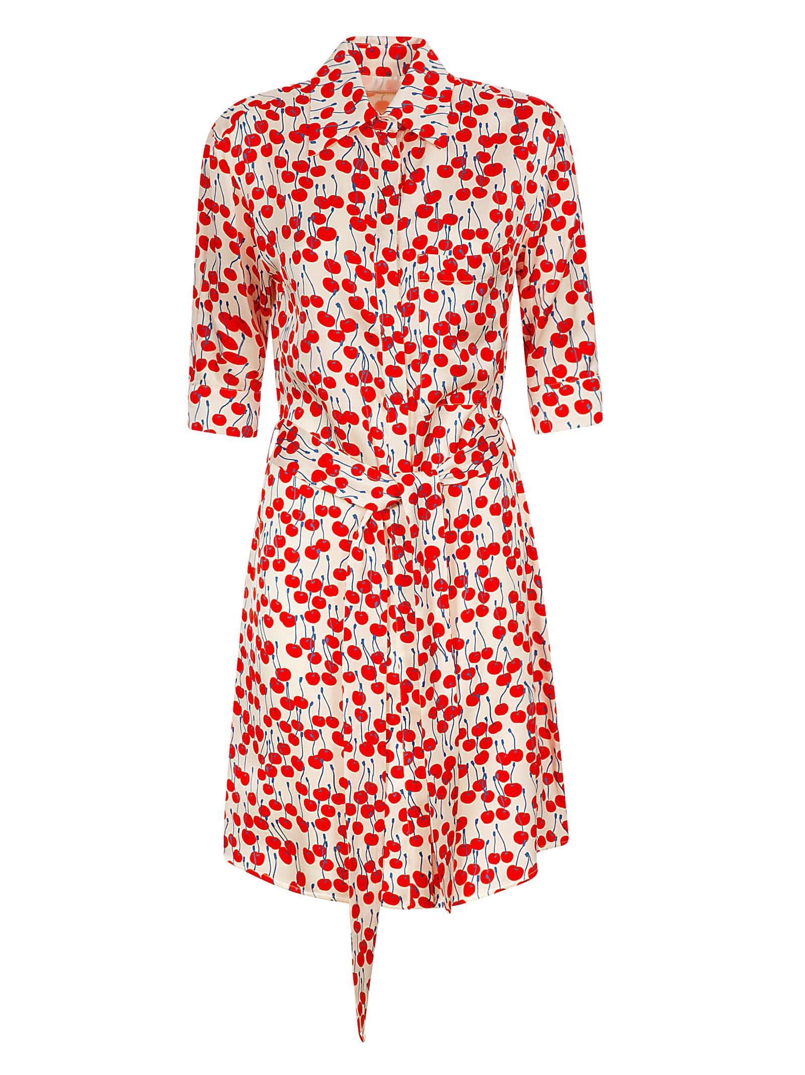 Buy Victoria Victoria Beckham Cherry Print Shirt Dress online, shop Victoria Victoria Beckham with free shipping