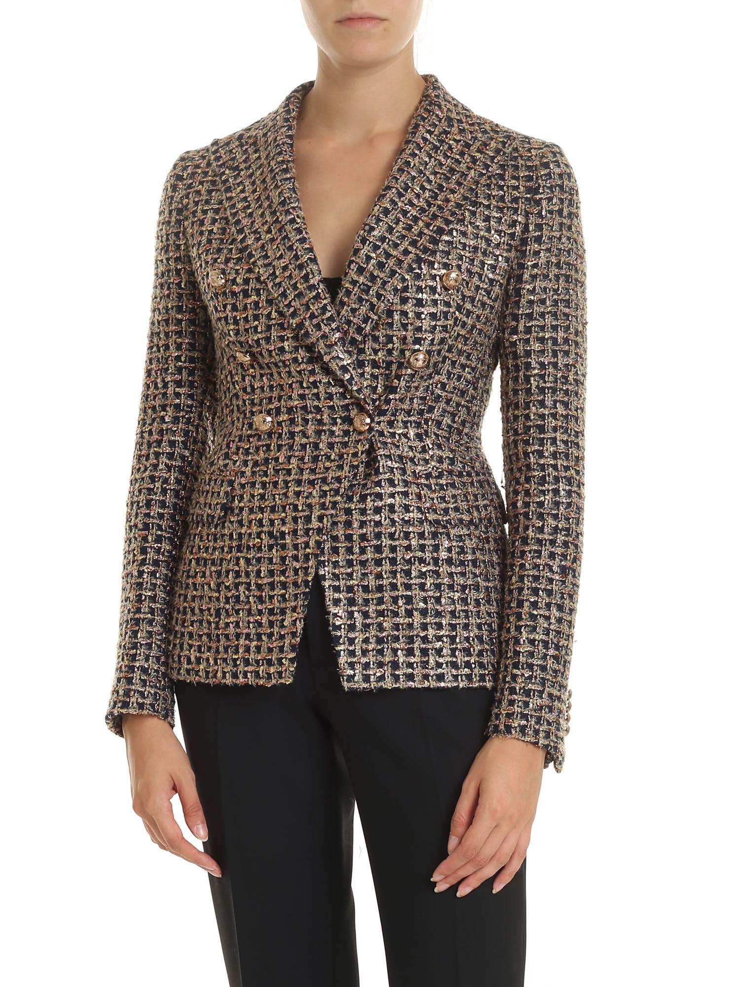 Tagliatore – Bouclé Jacket With Laminated Pattern