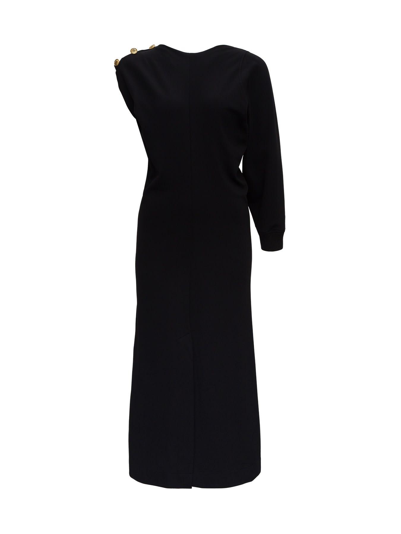 Asymmetrical Dress With 4g Buttons