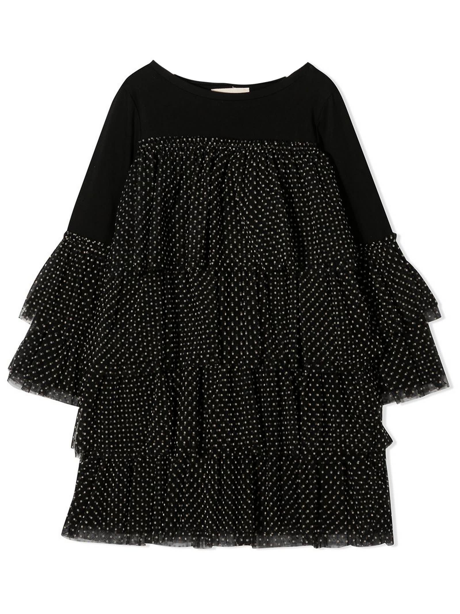 Black Cotton Ruffled Dress