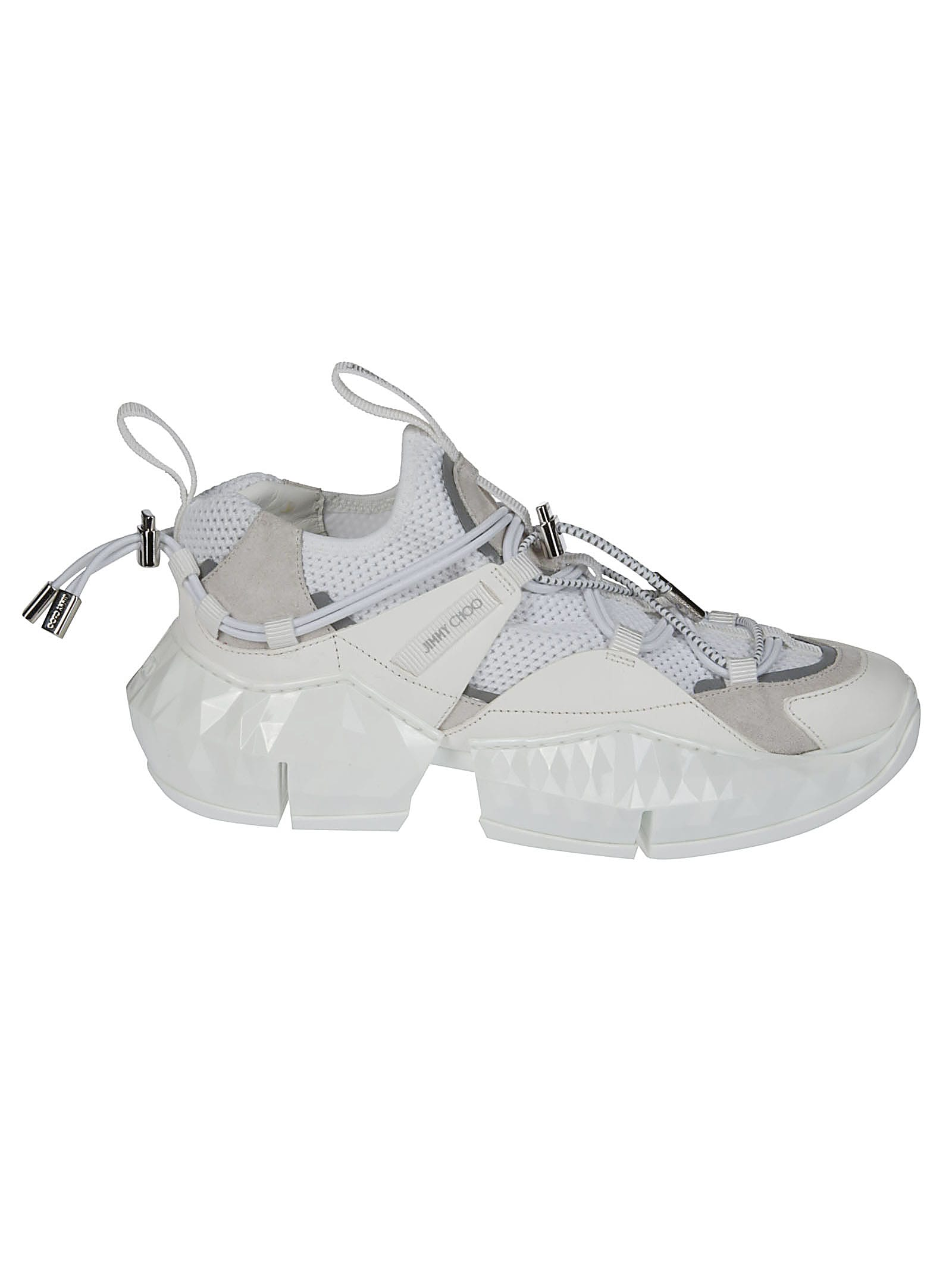 Jimmy Choo White Leather And Canvas Diamond Sneakers