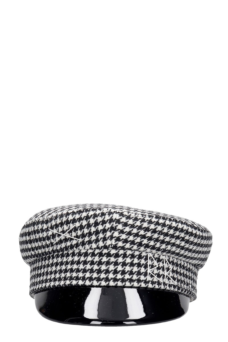 Ruslan Baginskiy Houndstooth Hats In Black Wool