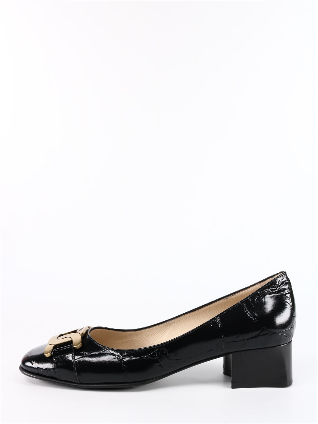Pumps in crocodile print calfskin with square toe embellished with an antique gold metal chain. Low block heel and embossed finish. Heel: 3. 5 cmComposition: 100% Calf Leather